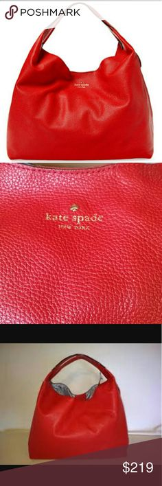 """Kate Spade Mansfield Juniper hobo bag A versatile hobo cast in Crimson red grained leather.  Features duo of straps and vertical zip gussets that expand for extra room.  Magnetic snap closure.  Interior zip,  wall and cell phone pockets.  Signature jacquard lining.  Strap drop 5"""". W-14 1/4"""", H-10 3/4"""", D-5"""". Excellent condition. kate spade Bags Hobos"""
