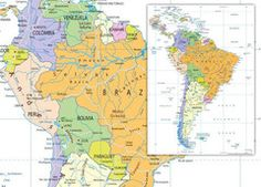 South America Political Map Wall Maps, Vinyl Banners, South America, Prints, Art, Art Background, Kunst, Performing Arts, Art Education Resources
