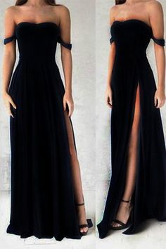 Ulass Gorgeous Black Prom Dresses,Elegant Evening Dresses,Long Formal Gowns,Slit Party Dresses,Chiff on Luulla Ball Dresses, Evening Dresses, Sexy Dresses, Summer Dresses, Romantic Dresses, Wedding Dresses, Midi Dresses, Pretty Dresses, Casual Dresses