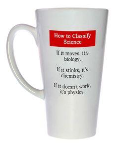 Science Classification Funny Coffee or Tea Mug, Latte Size