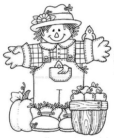 Scarecrow with bucket of applies Thanksgiving Coloring Pages, Fall Coloring Pages, Halloween Coloring Pages, Coloring Pages For Kids, Coloring Sheets, Coloring Books, Embroidery Patterns, Hand Embroidery, Moldes Halloween