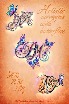 Beautiful butterflies on 10 calligraphic style designs, # style designs . - Beautiful butterflies on 10 calligraphic designs, # Species designs - Love Symbol Tattoos, Name Tattoos, Star Tattoos, Symbolic Tattoos, Body Art Tattoos, Initial Tattoos, Mommy Daughter Tattoos, Mommy Tattoos, Tattoos For Daughters