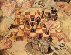Chess Player, 1916 - Max Oppenheimer Gustav Klimt, Max Oppenheimer, Kansas Usa, Chess Players, Famous Words, Art Database, Oil Painting Reproductions, New York, Art Museum