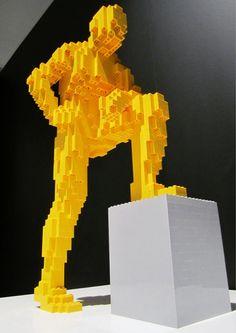 Yellow man by Nathan Sawaya