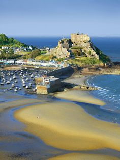 A stunning birds-eye view of the castle and marina in Jersey, Channel Islands #EscapeToJersey