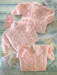 Pretty knit Baby Heart Cardigan jacket hat and Sweater knitting pattern - PDF