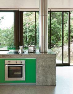 dwell - kitchen, green, concrete