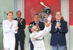Claiming the top spot! The TV favourite was amongst a number of stars who decamped to the famous principality over the weekend to witness Lewis Hamilton claim the checkered flag and first place in the race