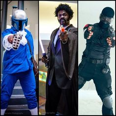 "A snapshot of my Dragon*Con cosplays: ""DJango"" Fett, Mace Winnfield, & Snake Eyes. Prior to this year, I only attended #DragonCon on Saturday and only had my Snake Eyes to work with. I'll be adding two, possibly three more for next year :-) #Cosplaya"