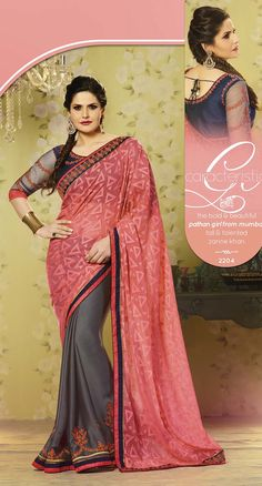 Zarin Khan Red Dark Grey Heavy Embroidered Georgette Saree #bollywoodreplica #craftshopsindia