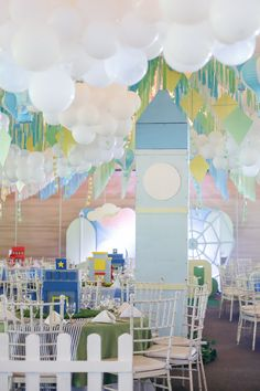 """Mayor Dylan's Charming """"My Own Little Town"""" Themed Party – Ceiling Soft Colors, Green Colors, Party Themes, Party Ideas, Striped Table, Pastel Palette, White Balloons, Green Party, Wild Ones"""