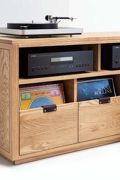 Audio room Dovetail 4 x with Equipment Shelf - Record Storage Stand. Vinyl Record Cabinet, Vinyl Record Storage Shelf, Vinyl Shelf, Stereo Cabinet, Storage Cabinets, Storage Shelves, Vinyl Records, Plate Storage, Rack Shelf