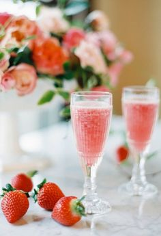 The prettiest strawberry champagne cocktails.