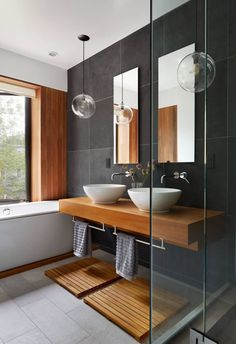 Contemporary bathroom design or the bathroom, one of the very visual pieces of a contemporary home! Get inspired and pick a best idea for your next bathroom renovation. Contemporary Bathroom Designs, Modern Interior Design, Contemporary Design, Interior Paint, Modern Decor, Luxury Interior, Modern Townhouse Interior, Interior Ideas, Contemporary Stairs