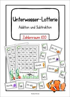 Underwater lottery: addition and subtraction in number range 100 - teaching material in the subjects of mathematics, Writing Words, Life Pictures, Life Skills, Make Me Happy, Mathematics, The Life, Back To School, Numbers, The 100