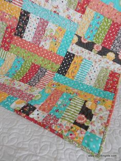 Love The Wavy Line Quilting And The Patchwork Half Square