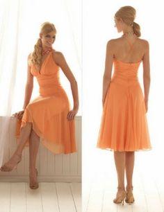 in yellow or coral :)  Chiffon Bridesmaid Dress  v-neck  tea-length