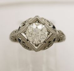 1.25ct. Diamond & 18K White Gold Vintage Engagement Ring- J33145 - pinned by pin4etsy.com