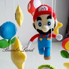 Mario suspension baby mobile game room felt nintendo