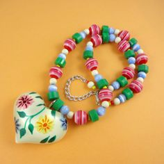 Chunky Floral Resin Heart Necklace  hand by RainbowMermaidJewels