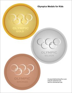 Kids pretend play printable Winter Olympic Medals http://www.kidscanhavefun.com/winter-olympics-activities.htm #winterolympics #kids #medals