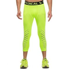 bea9d9668d Amazon.com: Men's Workout Yoga Running 3/4 Compression Leggings Tights  Three-quarter Pants (Small = US size X-Small, Indido): Clothing