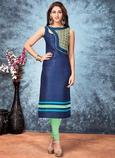 Silk Neavy Blue Party Wear Embroidered Work kurties on Salwar Kamez Exports