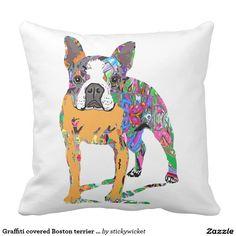 Graffiti covered Boston terrier pillow