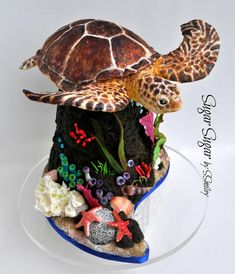 Sea turtle made from Rice Krispy Treats covered in modeling chocolate and colored with petal dusts and alcohol. Everything else is made of fondant or gum paste. Because the young lady wanted to keep the turtle, a couple of dozen matching cupcakes. Cake Icing, Fondant Cakes, Cupcake Cakes, 3d Cakes, Ocean Cakes, Beach Cakes, Lizard Cake, Delish Cakes, Movie Cakes