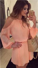Stylish Round Collar Long Sleeve Pure Color Cut Out Chiffon Women's Dress Chiffon Dresses… - moda Women's Dresses, Cute Dresses, Casual Dresses, Short Dresses, Dress Long, Cheap Dresses, Dresses Online, Dresses 2016, Cheap Clothes