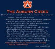 Auburn Creed Photo: This Photo was uploaded by griffpowell. Find other Auburn Creed pictures and photos or upload your own with Photobucket free image a. Auburn Football, Auburn Tigers, College Football, Football Rules, Auburn Alabama, College Cheer, Thing 1, Auburn University, University Style