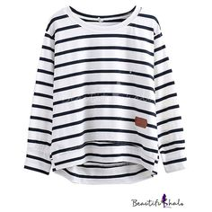 Stripe Leather Applique Round Neck Long Sleeve Tee ($14) ❤ liked on Polyvore featuring tops, t-shirts, stripe long sleeve tee, leather top, striped top, leather tee and stripe top