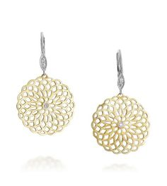 Filigree Circle Drop Pave Earrings