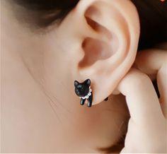 Cute Black Cats, Stud Earrings, Jewelry, Jewlery, Jewerly, Stud Earring, Schmuck, Jewels, Jewelery