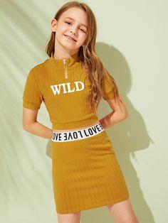 Girls Half Zip Placket Rib-Knit Letter Top & Skirt Set - Girls Half Zip Placket Rib-Knit Letter Top & Skirt Set – gagokid Source by peterdslb - Preteen Girls Fashion, Teenage Girl Outfits, Girls Summer Outfits, Dresses Kids Girl, Cute Girl Outfits, Girls Fashion Clothes, Cute Outfits For Kids, Teen Fashion Outfits, Kids Fashion