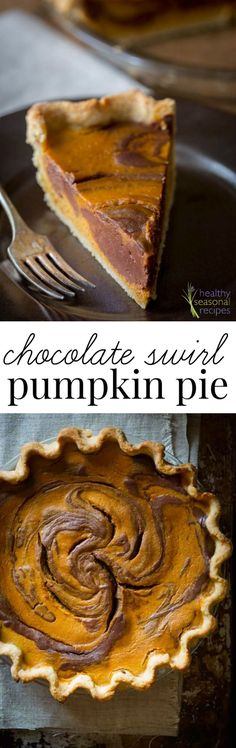 This Chocolate Swirl Pumpkin Pie will be your family's new Thanksgiving tradition! It is made with a rich chocolate swirl and creamy spiced pumpkin pie in a home-made whole-wheat crust! Pumpkin Pie Recipes, Fall Recipes, Holiday Recipes, Seasonal Recipe, Thanksgiving Recipes, Köstliche Desserts, Delicious Desserts, Dessert Recipes, Healthy Desserts