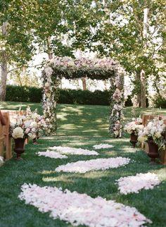 rose petal wedding aisle runner and ceremony decor idea