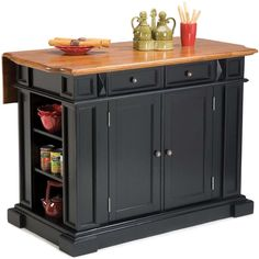 Add extra surface space to your kitchen without the hassle of remodeling with this convenient oak-topped kitchen island. The island features plenty of room for storing kitchen essentials and a drop leaf that provides additional room for dining.