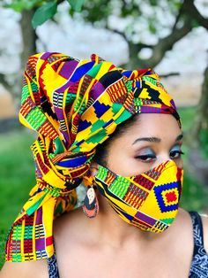 HEADWRAP & FACE MASK set, African Print Face Mask, Ankara Mask, 100% Cotton Reusable Face Mask w/ Filter Pocket, Shaped Mask HWFM2015 Face Mask Set, Pattern Cutting, Different Fabrics, Head Wraps, Ankara, Handcrafted Jewelry, Printer, Cotton Fabric, African