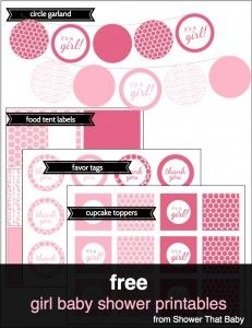 About 10 different sets Free Baby Shower Printables