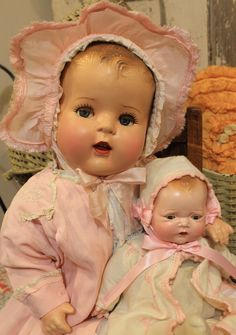 "24"" Flirty Eye Compositioin and Cloth Antique Baby Doll in Old Vinatage Clothes 