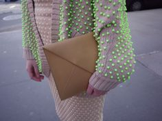 Neon Dots and ecru and tan. Love the texture!