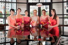 We love orange and pink together! These bouquets by Lee James Floral are beautiful. Photos by Kathy Thomas Photography,