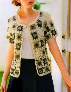 Todo crochet: Delicado saco de mangas cortas confeccionado con g...