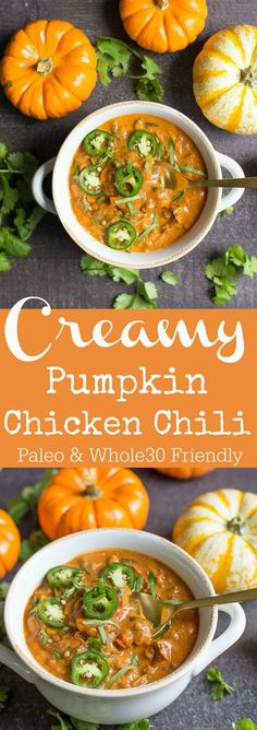 Pumpkin Chicken Chili This fall dinner is so good for a chili cook-off, football season, or gathering with friends! So easy!This fall dinner is so good for a chili cook-off, football season, or gathering with friends! So easy! Savory Pumpkin Recipes, Healthy Diet Recipes, Healthy Soup Recipes, Chili Recipes, Healthy Fall Soups, Keto Recipes, Dinner Healthy, Healthy Pumpkin, Paleo Fall Recipes