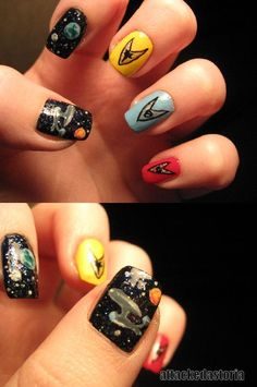 Star Trek nails - take off with the enterprise nail art to outer space with these star trek fan art nails! Perfect for fans of the sy-fy channel, Star trekkers and other science fictional admirers. Perhaps finding out how to do galaxy nail art will make this nail painting a bit simpler and make your fingers look out of this world!