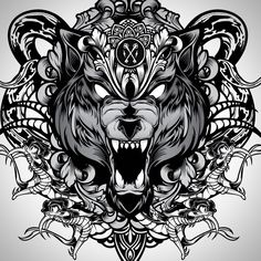 1 And done. Wolf Tattoo Back, Small Wolf Tattoo, Wolf Tattoo Sleeve, Sleeve Tattoos, Bear Tattoos, Wolf Tattoos, Skull Tattoos, Norse Tattoo, Viking Tattoos