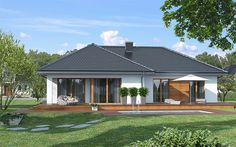 Dom w cieszyniankach 5 House Plans Mansion, New House Plans, Dream House Plans, Modern House Plans, Modern Bungalow House, Bungalow House Plans, Village House Design, Village Houses, One Storey House