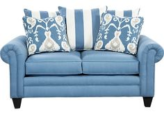 Crescent Beach Blue Loveseat at Rooms To Go