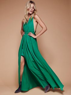 Athea Drape Maxi   Make an entrance in this ethereally draped, Grecian-inspired chiffon maxi dress with pleating detail and exposed half-slip. Straps cross and tie in the back. Back zip with hook-and-eye closure. Fully lined.